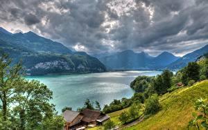 Fotos See Berg Haus Schweiz Alpen Gewitterwolke HDR Lake Walensee