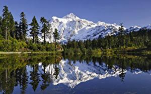 壁纸、、湖、山、風景写真、