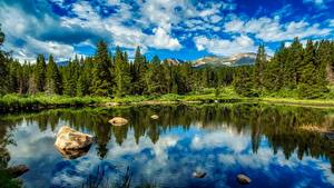 Hintergrundbilder See Steine Wälder USA Landschaftsfotografie HDRI Colorado Natur