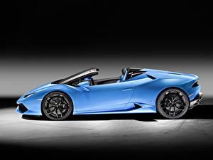 Bilder Lamborghini Cabrio Hellblau Seitlich 2015 Huracan