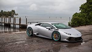 Bilder Lamborghini Graue Huracan automobil