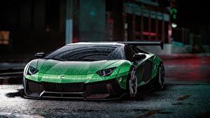 Desktop wallpapers Lamborghini Need for Speed Green Drops Aventador Liberty Walk, 2015 game art Cars Games