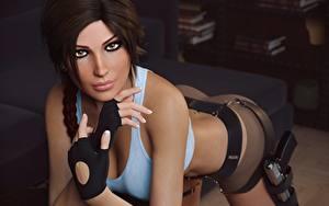 Fotos Lara Croft Schön Starren Braune Haare Hand Mädchens 3D-Grafik