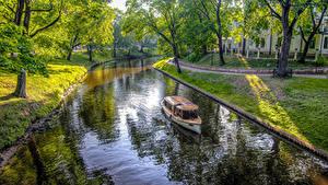 Hintergrundbilder Lettland Parks Motorboot HDRI Kanal Bäume Riga Natur