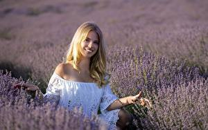 Bilder Lavendel Felder Blondine Lächeln Mädchens