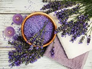 Desktop hintergrundbilder Lavendel Handtuch Salz Spa Schüssel Blüte