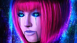Bilder LOL Make Up Gesicht Haar Rosa Farbe Orianna Lady of Clockwork computerspiel Fantasy Mädchens
