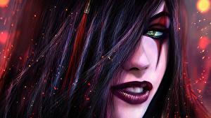 Fotos League of Legends Schminke Haar Brünette katarina fan art Sinister Blade computerspiel Fantasy Mädchens