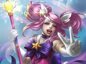 Bilder LOL Finger Magierstab Star Guardian Lux Fantasy Mädchens
