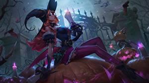 Bilder LOL Halloween Der Hut Sitzt Miss Fortune computerspiel Mädchens