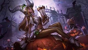 Bilder LOL Halloween Der Hut Sitzen Miss Fortune Spiele Mädchens