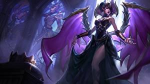 Hintergrundbilder LOL Flügel Morgana Spiele Mädchens Fantasy
