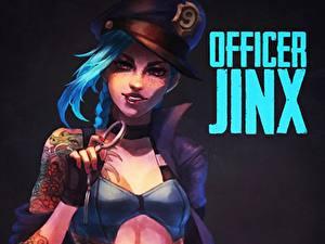 Bilder League of Legends Der Hut Officer jinx Mädchens