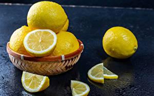 Fotos Zitrone Weidenkorb Stück das Essen