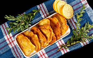 Bilder Zitronen Ast fish in batter das Essen