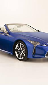 Desktop hintergrundbilder Lexus Cabriolet Blau Metallisch Weißer hintergrund LC 500 Convertible, AU-spec, 2020 Autos