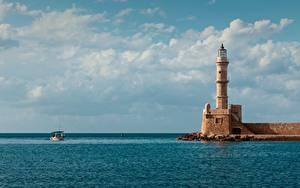 Bilder Leuchtturm Meer Boot Griechenland Horizont Egyptian Lighthouse, Crete Städte