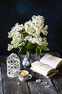 Wallpapers Lilac Still-life Coffee Cappuccino Wood planks Vase Book Cup Flowers