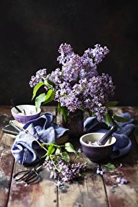 Hintergrundbilder Syringa Bretter Vase Mörser und Stößel Blumen