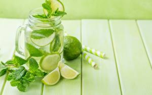 Hintergrundbilder Limette Limonade Bretter Weckglas Minzen Blatt Lebensmittel