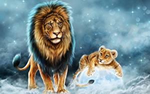 Hintergrundbilder Löwe Jungtiere Große Katze Gezeichnet Tiere