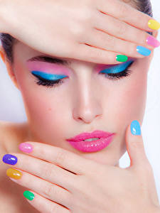 Wallpaper Lips Face Makeup Hands Manicure Girls