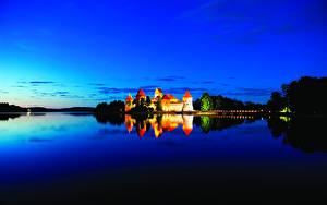 Fotos Litauen Burg See Himmel Nacht Medininkai Castle