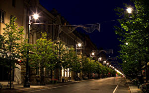 Fotos Litauen Haus Wege Vilnius Stadtstraße Nacht Straßenlaterne