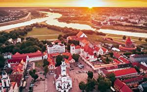 Hintergrundbilder Litauen Flusse Haus Burg Kathedrale Kaunas Platz Von oben Santaka, Old Town Städte