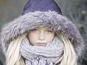 Bilder Kleine Mädchen Starren Kapuze Schal Blondine