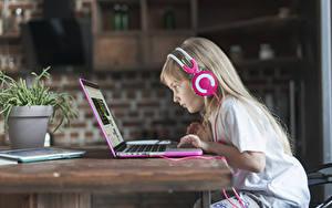 Bilder Kleine Mädchen Kopfhörer Notebook Sitzt Tisch Dunkelbraun