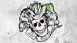 Fotos Logo Emblem Suicide Squad 2016 Cranium Tätowierung Joker Film