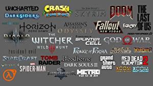 Hintergrundbilder Logo Emblem The Witcher 3: Wild Hunt Fallout Dark Souls Doom Diablo Grand Theft Auto Assassin's Creed Grauer Hintergrund Spiele