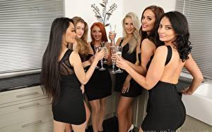 Hintergrundbilder Louisa Lu Becky Bond Lucy Ava Hollie Q Robyn J Paige F Only Brünette Blond Mädchen Starren Lächeln Hand Weinglas Kleid