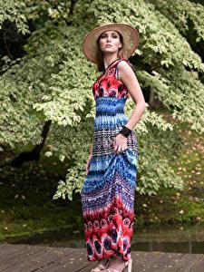 Hintergrundbilder Kleid Der Hut Pose Blick Magdalena Warszawa