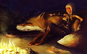 Fotos Magische Tiere Elfen Funkenfeuer Sitzt Blond Mädchen Stiefel Nacht Fantasy Mädchens