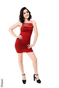 Hintergrundbilder Malena Fendi iStripper Weißer hintergrund Brünette Pose Lächeln Hand Kleid Bein High Heels junge frau