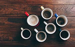 Bilder Viel Kaffee Von oben Becher Bretter das Essen