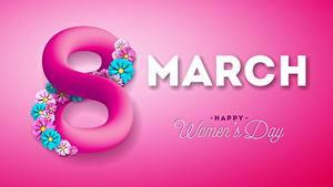 Hintergrundbilder Internationaler Frauentag Rosa Farbe Farbigen hintergrund Text Englisch