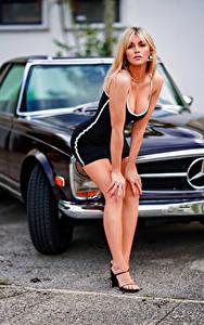 Bilder Blond Mädchen Pose Kleid Dekolleté Blick Bokeh Marina junge frau Autos