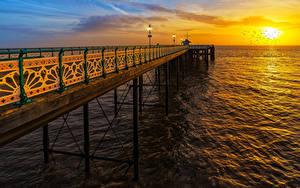 Hintergrundbilder Schiffsanleger Meer Sonnenaufgänge und Sonnenuntergänge Vereinigtes Königreich Sonne Penarth Pier Vale of Glamorgan