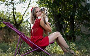 Fotos Blondine Lächeln Kleid Bein Welpen Marion and Sissi Tiere