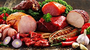 Hintergrundbilder Fleischwaren Schinken Knoblauch Zwiebel Wurst