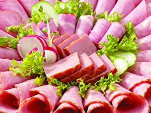 Bilder Fleischwaren Schinken Wurst Gemüse Geschnitten Lebensmittel