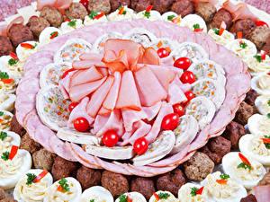 Hintergrundbilder Fleischwaren Wurst Schinken Geschnitten Ei