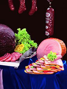 Hintergrundbilder Fleischwaren Wurst Schinken Gemüse Geschnitten