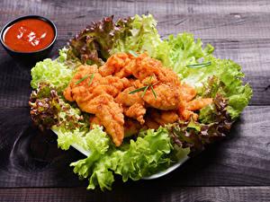 Hintergrundbilder Fleischwaren Gemüse Hühnerfleisch Bretter Ketchup