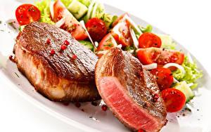 Bilder Fleischwaren Gemüse Weißer hintergrund