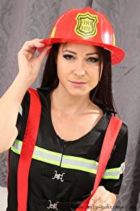 Bilder Melisa Mendiny Helm Starren Uniform Mädchens