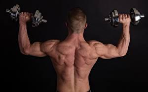Fotos Mann Schwarzer Hintergrund Hanteln Rücken Hand Hinten Muskeln Trainieren